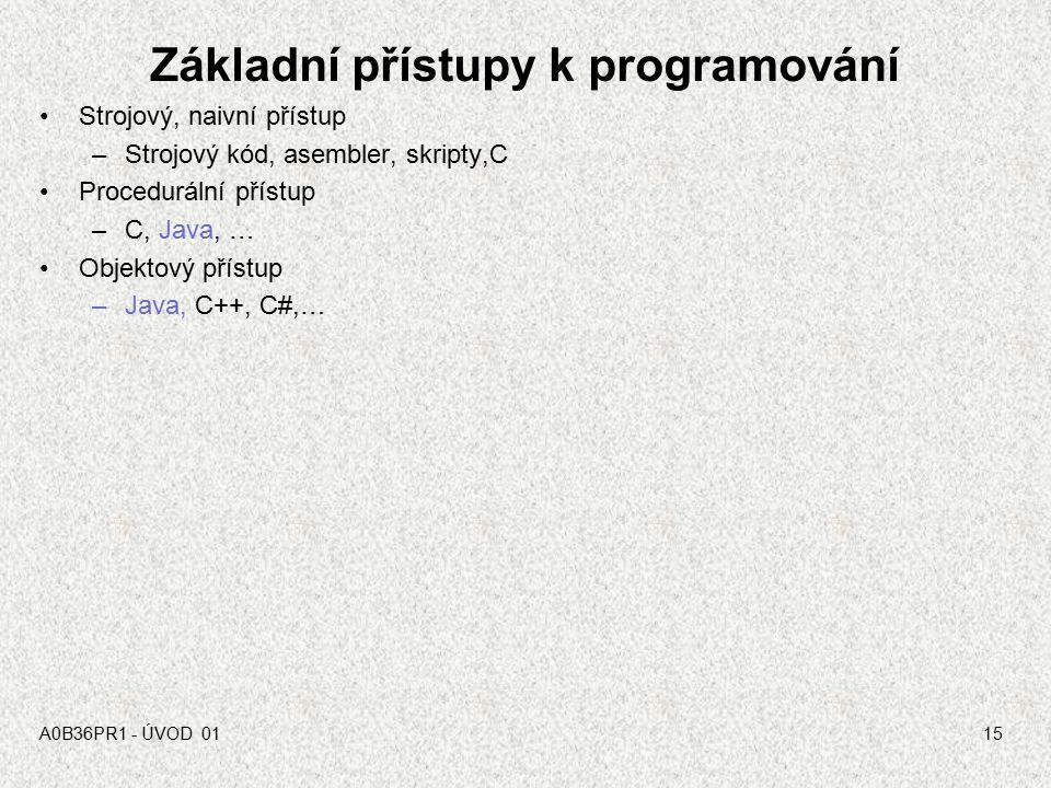 A0B36PR1 - ÚVOD 0114 Programy a programovací jazyky Program je předpis (zápis algoritmu) pro provedení určitých akcí počítačem zapsaný v programovacím