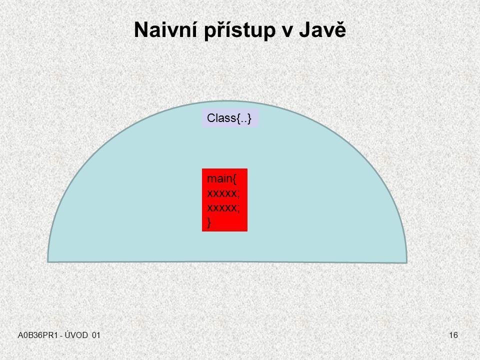 Základní přístupy k programování Strojový, naivní přístup –Strojový kód, asembler, skripty,C Procedurální přístup –C, Java, … Objektový přístup –Java,