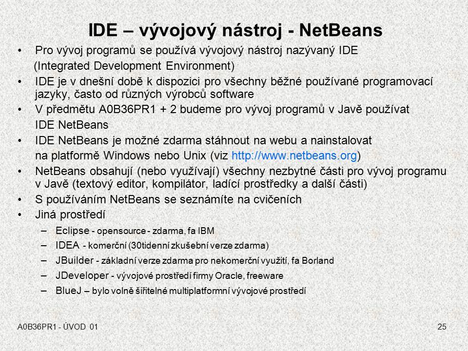 A0B36PR1 - ÚVOD 0124 Interpretační metoda - jazyk Java Zdrojový kód v jazyku Java soubor.java Překlad (javac) Bytecode soubor.class OS MS Windows OS G