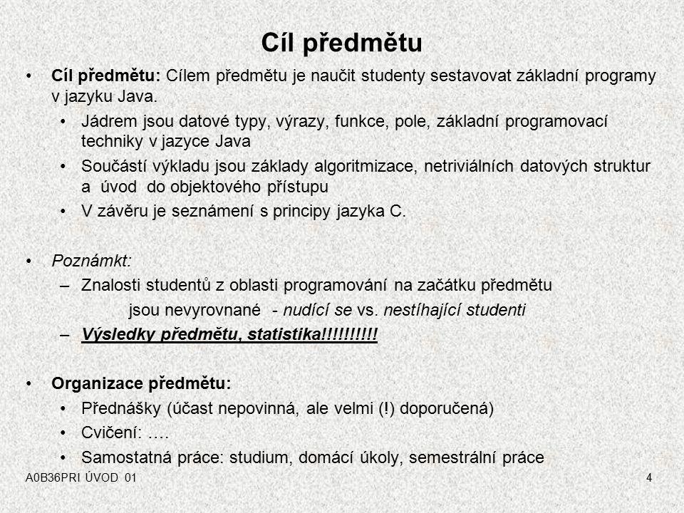 A0B36PRI ÚVOD 014 Cíl předmětu Cíl předmětu: Cílem předmětu je naučit studenty sestavovat základní programy v jazyku Java.