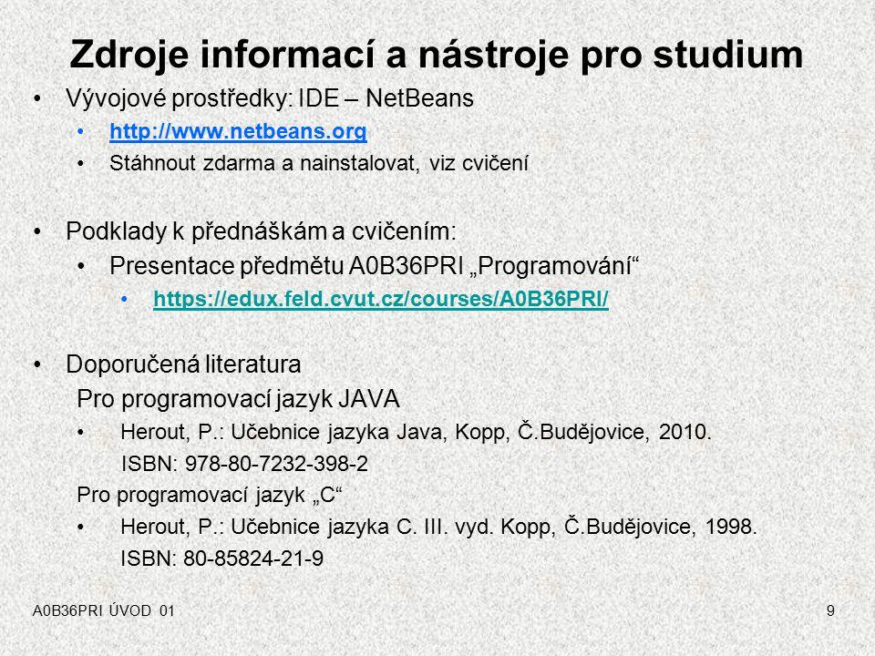 """A0B36PR1 - ÚVOD 0129 Jazyk JAVA - interpretace Jazyk Java je implementován interpretačním způsobem program je tvořen jedním nebo několika zdrojovými soubory s příponou.java: Program.java zdrojové soubory se přeloží překladačem(*) javac do vnitřní formy (byte code, bajt-kód) s příponou.class : Program.java > javac > Program.class interpretaci vnitřní formy provede program java (JVM – Java Virtual Machine v balíčku JRE Java Runtime Environment) a provede výpočet: Program.class > java > """"výpočet Poznámky: (*) v terminologii firmy Sun to je kompilátor program obvykle využívá řadu knihoven (Java Core API), které je třeba mít k dispozici jak při překladu, tak při interpretaci!!!"""