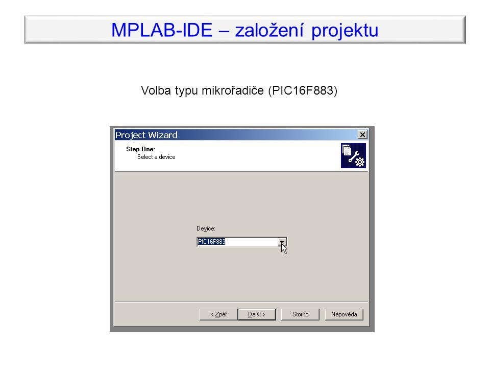 Volba typu mikrořadiče (PIC16F883)