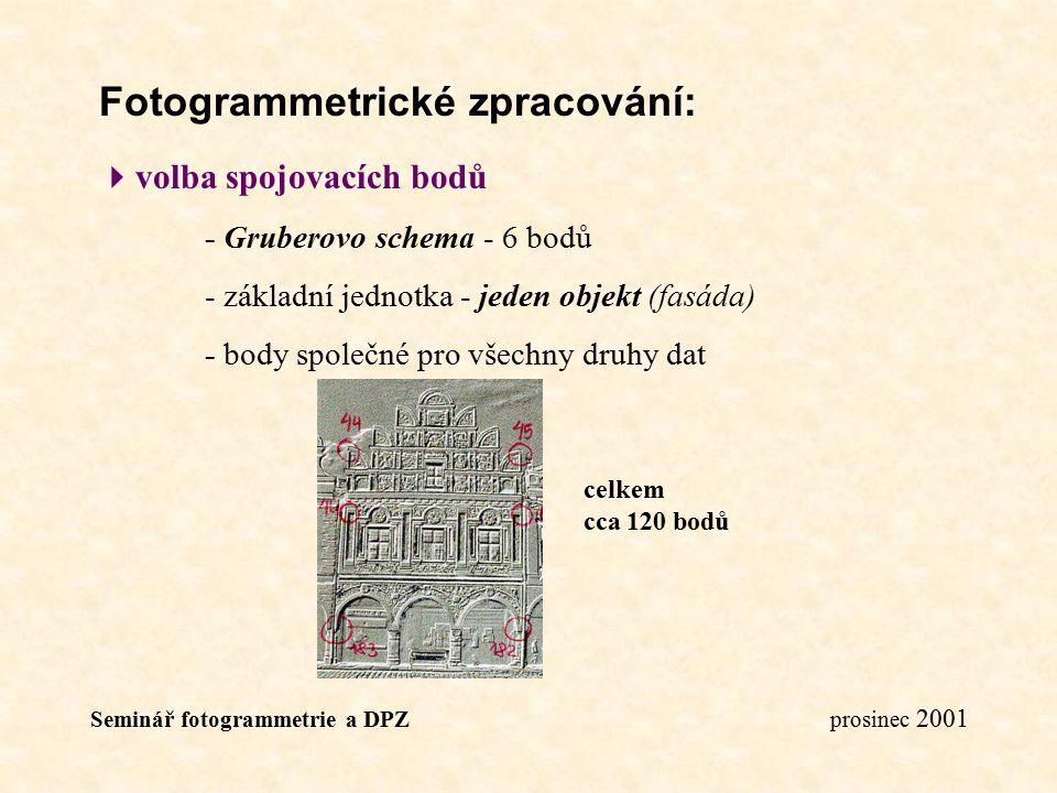 Seminář fotogrammetrie a DPZ prosinec 2001 Fotogrammetrické zpracování:  volba spojovacích bodů - Gruberovo schema - 6 bodů - základní jednotka - jed