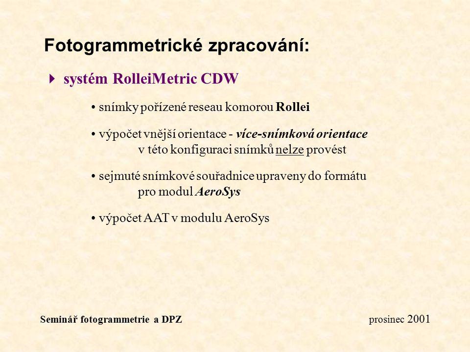 Seminář fotogrammetrie a DPZ prosinec 2001 Fotogrammetrické zpracování:  systém RolleiMetric CDW snímky pořízené reseau komorou Rollei výpočet vnější