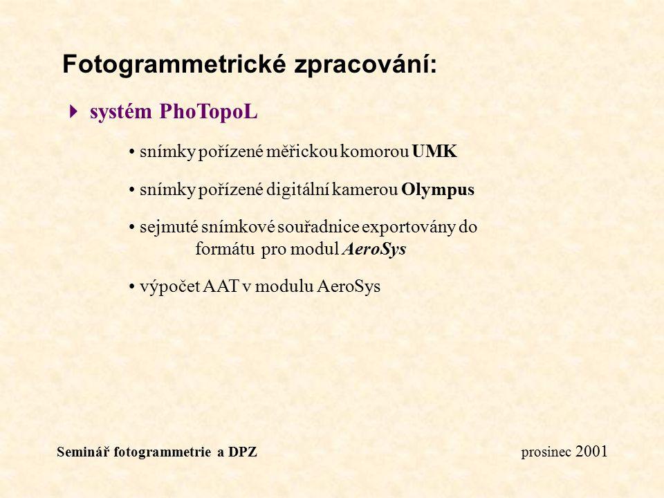 Seminář fotogrammetrie a DPZ prosinec 2001 Fotogrammetrické zpracování:  systém PhoTopoL snímky pořízené měřickou komorou UMK snímky pořízené digitál
