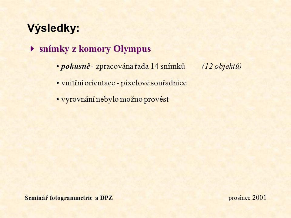 Seminář fotogrammetrie a DPZ prosinec 2001 Výsledky:  snímky z komory Olympus pokusně - zpracována řada 14 snímků(12 objektů) vnitřní orientace - pix