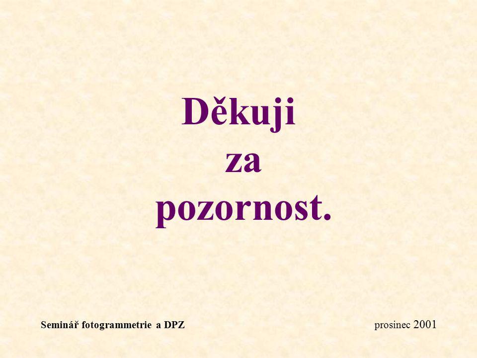 Seminář fotogrammetrie a DPZ prosinec 2001 Děkuji za pozornost.