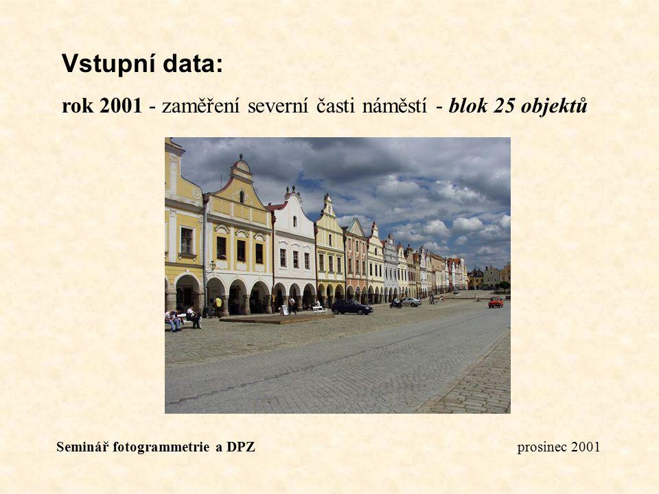 Seminář fotogrammetrie a DPZ prosinec 2001 Vstupní data: rok 2001 - zaměření severní časti náměstí - blok 25 objektů