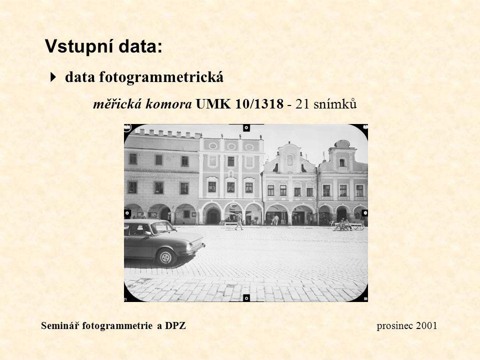 Seminář fotogrammetrie a DPZ prosinec 2001 Vstupní data:  data fotogrammetrická měřická komora UMK 10/1318 - 21 snímků