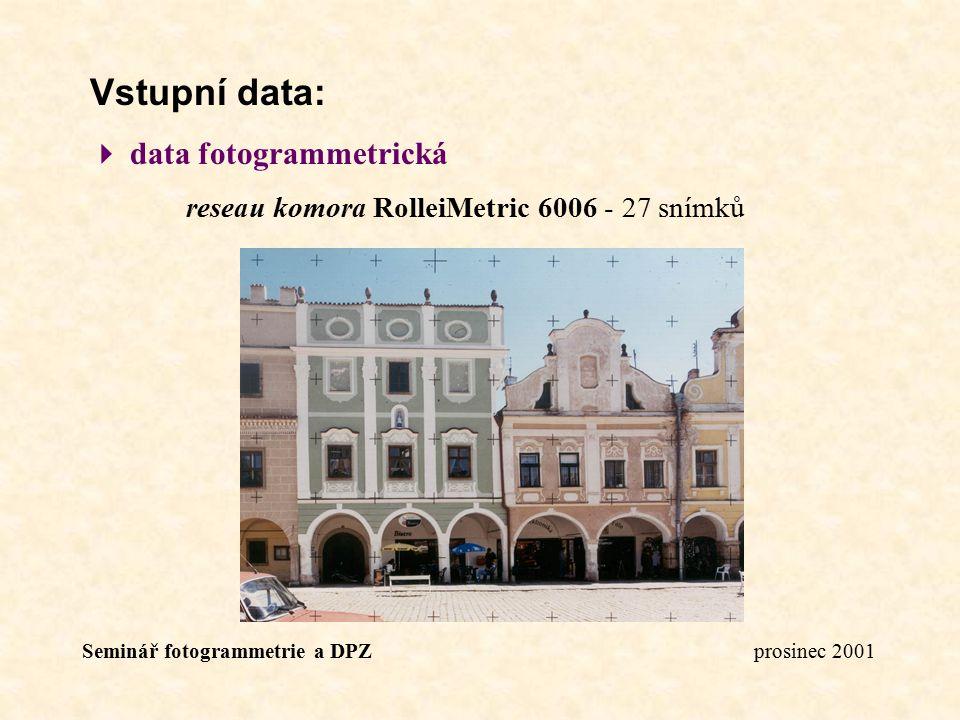 Seminář fotogrammetrie a DPZ prosinec 2001 Vstupní data:  data fotogrammetrická reseau komora RolleiMetric 6006 - 27 snímků