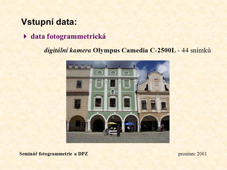 Seminář fotogrammetrie a DPZ prosinec 2001 Vstupní data:  data fotogrammetrická digitální kamera Olympus Camedia C-2500L - 44 snímků