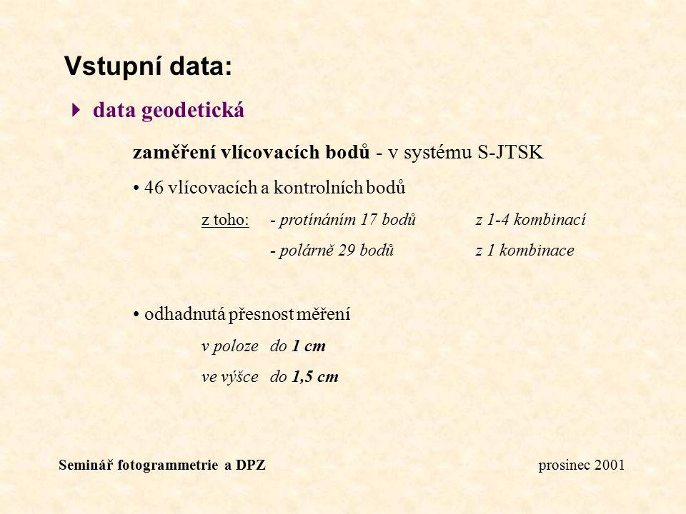 Seminář fotogrammetrie a DPZ prosinec 2001 Vstupní data:  data geodetická zaměření vlícovacích bodů - v systému S-JTSK 46 vlícovacích a kontrolních b