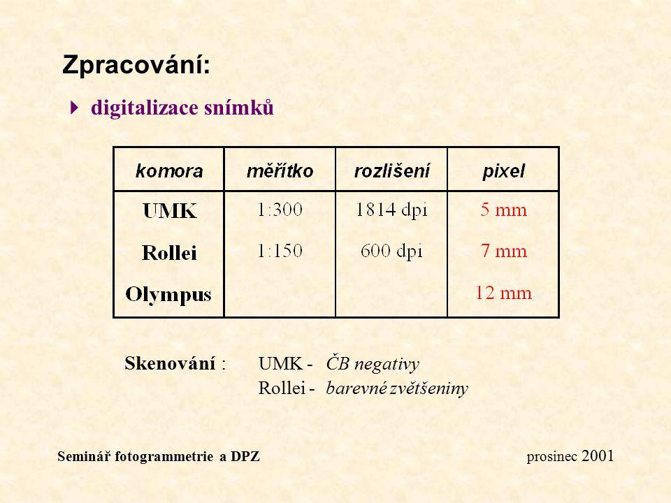Seminář fotogrammetrie a DPZ prosinec 2001 Zpracování:  digitalizace snímků Skenování : UMK -ČB negativy Rollei - barevné zvětšeniny