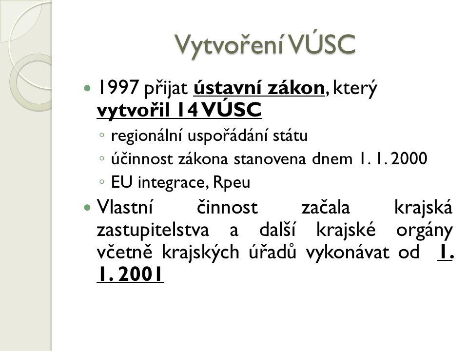 Vytvoření VÚSC 1997 přijat ústavní zákon, který vytvořil 14 VÚSC ◦ regionální uspořádání státu ◦ účinnost zákona stanovena dnem 1. 1. 2000 ◦ EU integr