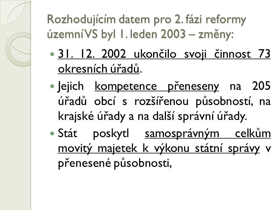 Rozhodujícím datem pro 2. fázi reformy územní VS byl 1. leden 2003 – změny: 31. 12. 2002 ukončilo svoji činnost 73 okresních úřadů. Jejich kompetence
