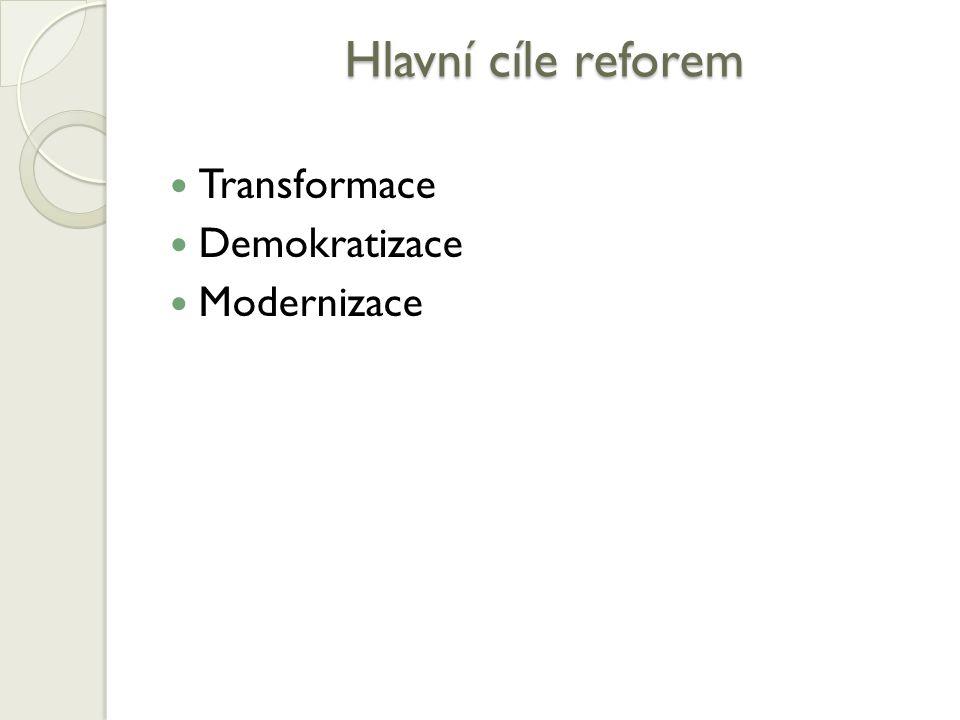Hlavní cíle reforem Transformace Demokratizace Modernizace