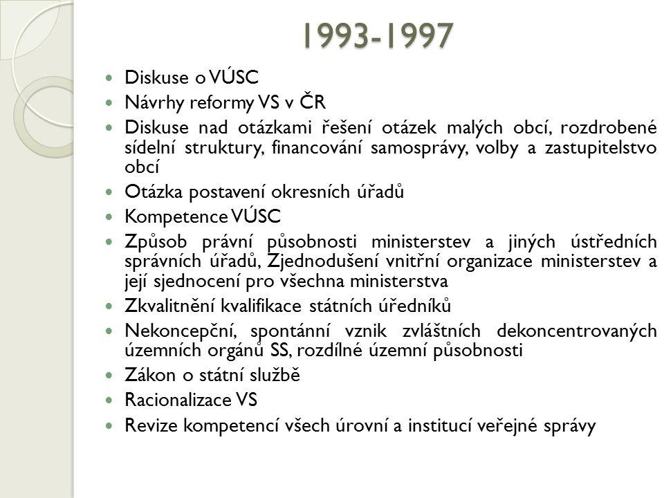 1993-1997 Diskuse o VÚSC Návrhy reformy VS v ČR Diskuse nad otázkami řešení otázek malých obcí, rozdrobené sídelní struktury, financování samosprávy,