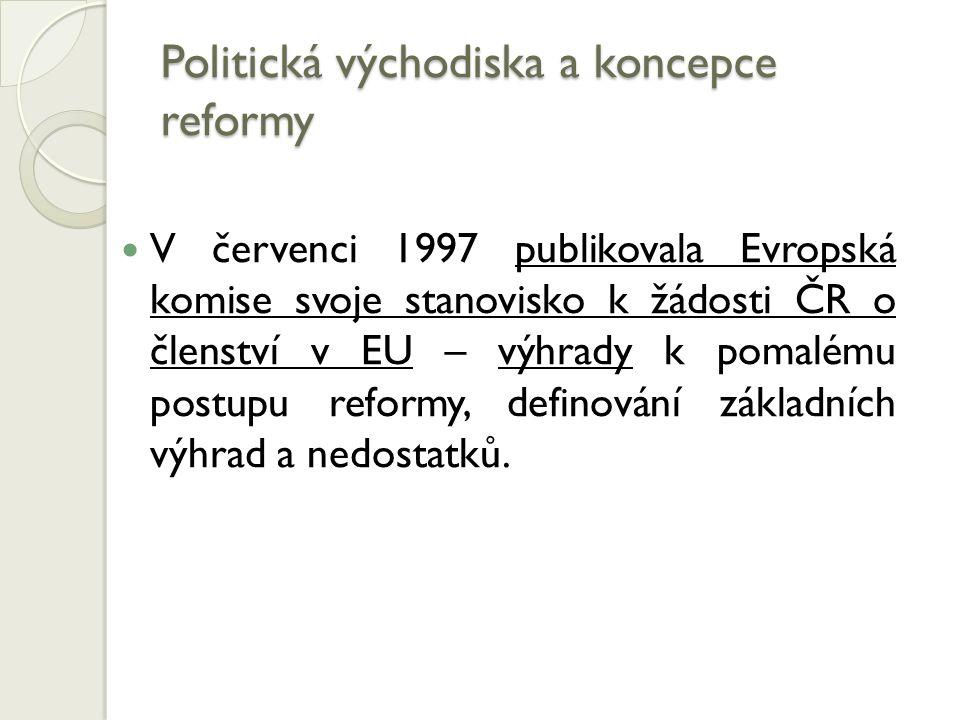 Politická východiska a koncepce reformy V červenci 1997 publikovala Evropská komise svoje stanovisko k žádosti ČR o členství v EU – výhrady k pomalému