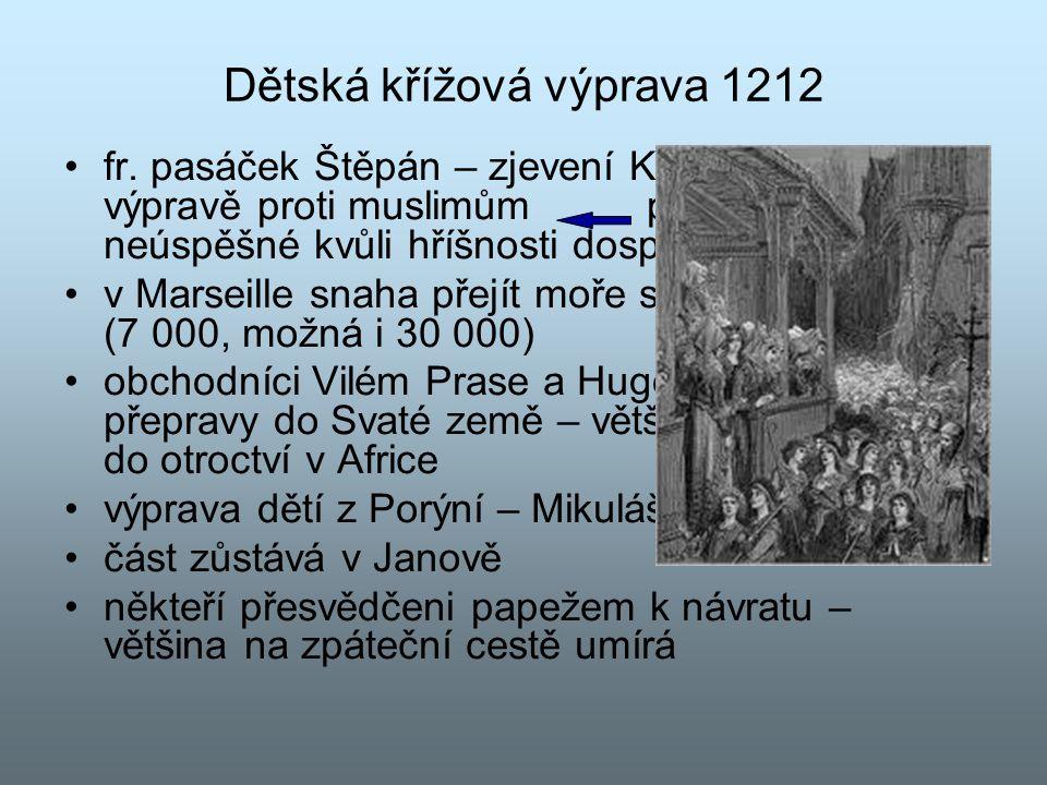 Dětská křížová výprava 1212 fr. pasáček Štěpán – zjevení Krista, výzva k výpravě proti muslimům předchozí výpravy neúspěšné kvůli hříšnosti dospělých