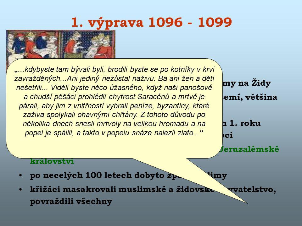 1. výprava 1096 - 1099 po cestě přes Evropu – křižáci plenili, pogromy na Židy první účastníci – chudina, plení evropské území, většina povražděna Tur