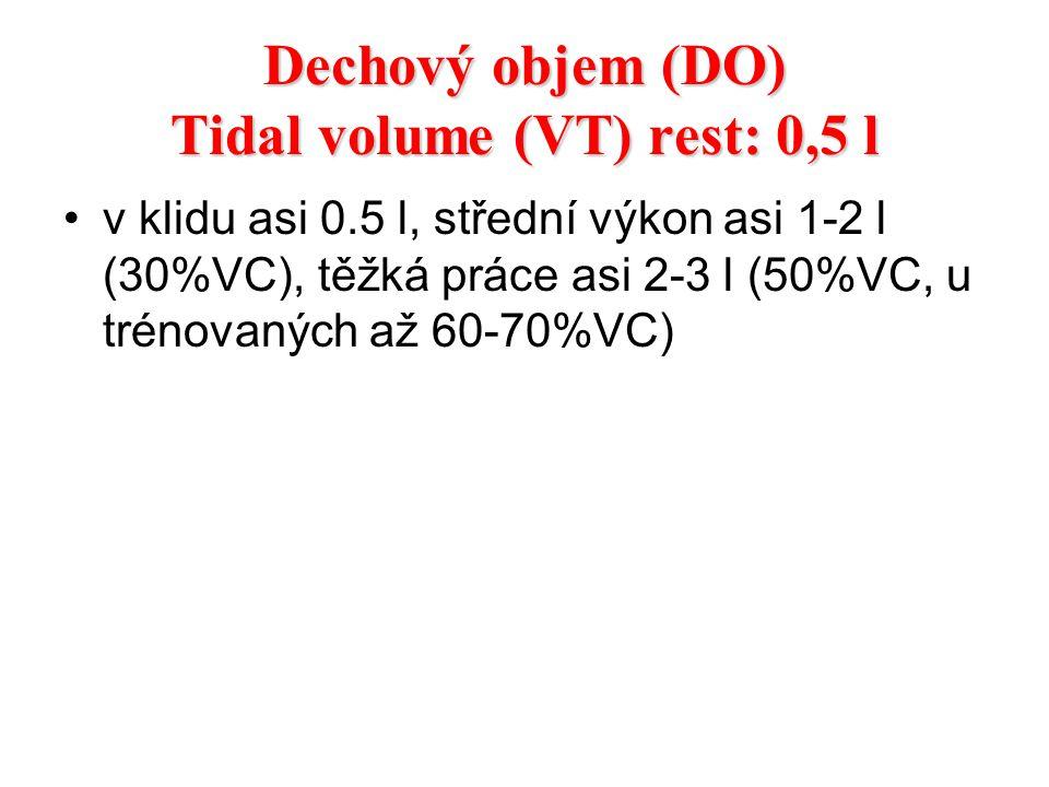 Dechový objem (DO) Tidal volume (VT) rest: 0,5 l v klidu asi 0.5 l, střední výkon asi 1-2 l (30%VC), těžká práce asi 2-3 l (50%VC, u trénovaných až 60