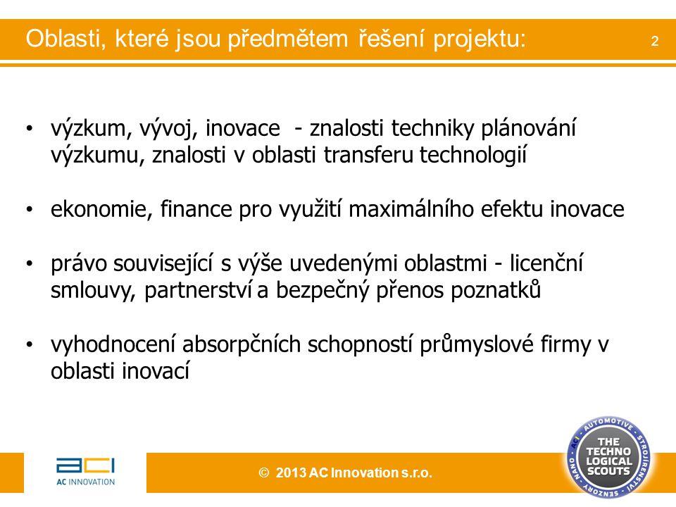 výzkum, vývoj, inovace - znalosti techniky plánování výzkumu, znalosti v oblasti transferu technologií ekonomie, finance pro využití maximálního efektu inovace právo související s výše uvedenými oblastmi - licenční smlouvy, partnerství a bezpečný přenos poznatků vyhodnocení absorpčních schopností průmyslové firmy v oblasti inovací © 2013 AC Innovation s.r.o.
