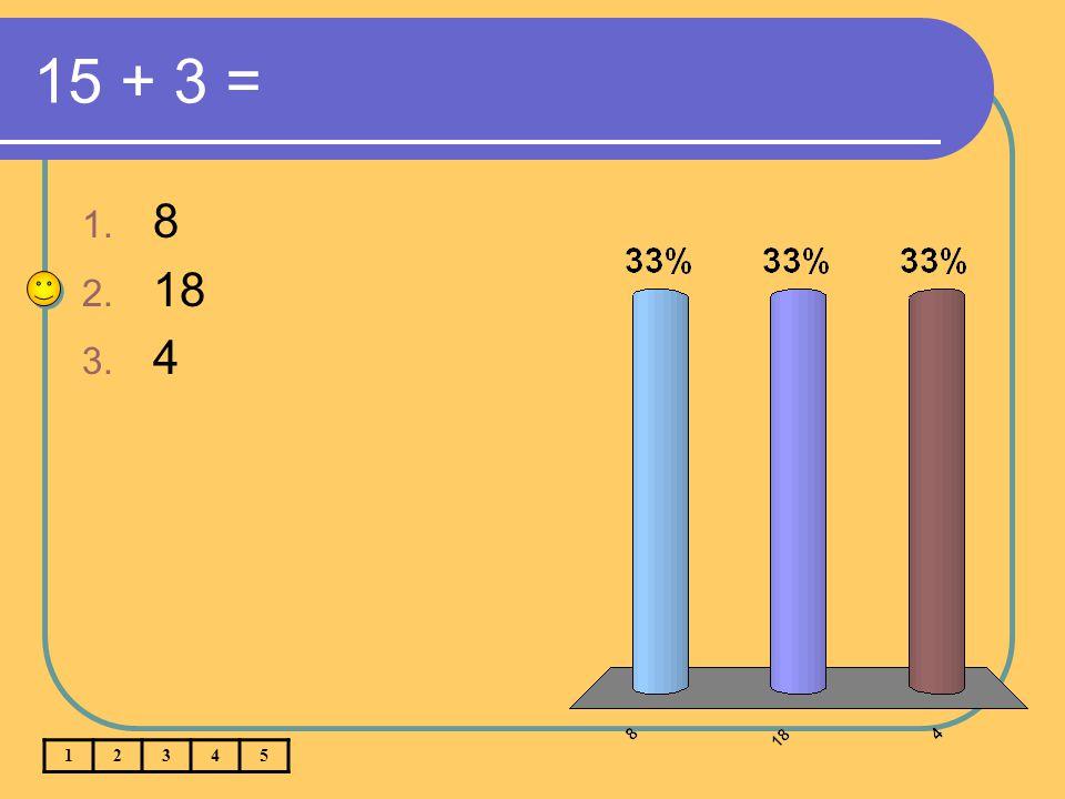15 + 3 = 1. 8 2. 18 3. 4 12345