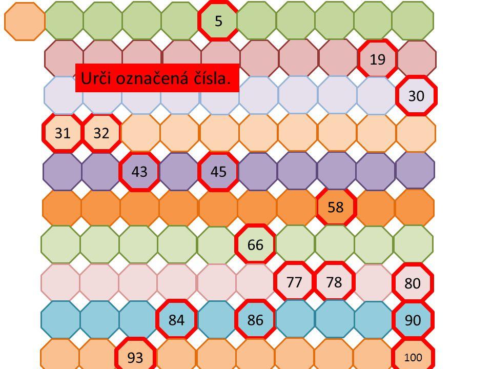 19 58 4345 3132 30 66 80 7877 90 8486 93 100 5 Urči označená čísla.