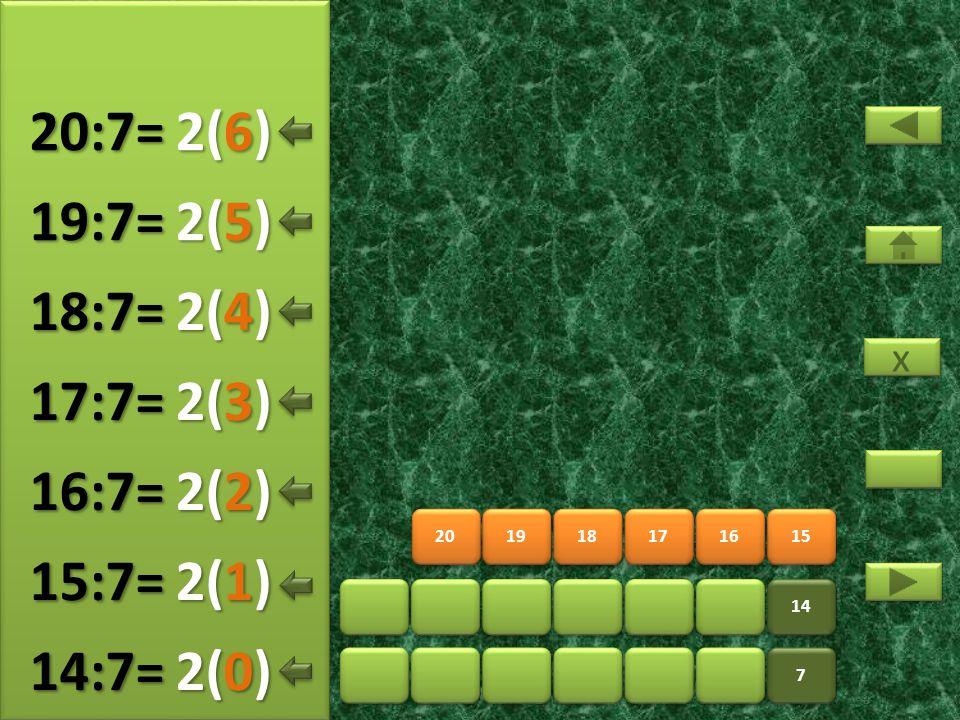 22 23 24 25 26 27 7 7 14 21 3(5) 21:7= 3(0) 22:7= 3(1) 23:7= 3(2) 24:7= 3(3) 25:7= 3(4) 26:7= x x 3(6) 27:7=