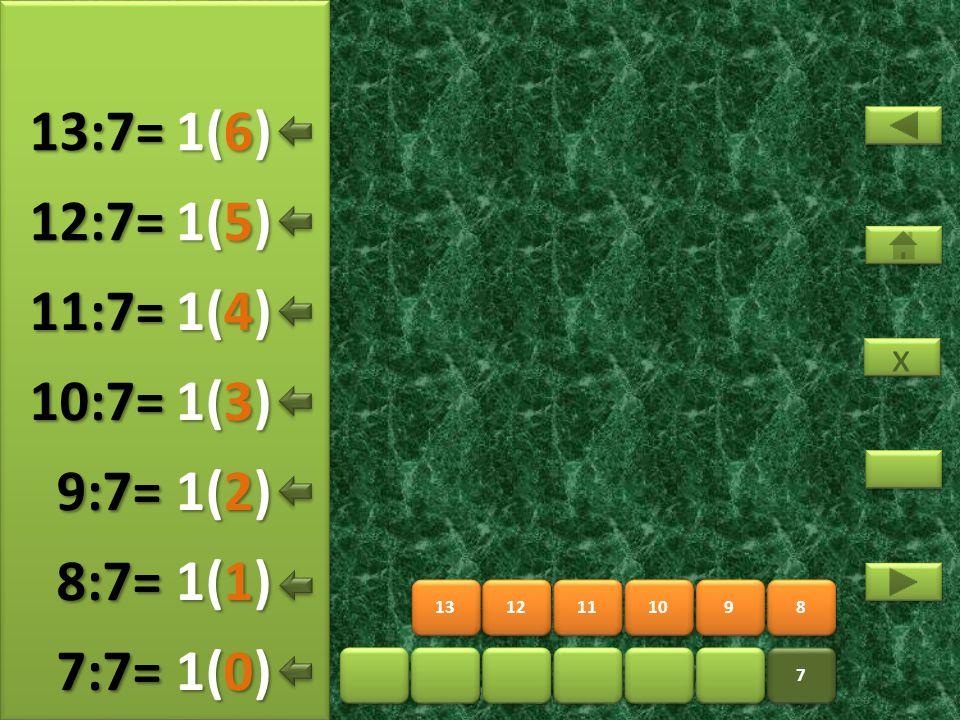 15 16 17 18 19 20 7 7 14 2(5) 14:7= 2(0) 15:7= 2(1) 16:7= 2(2) 17:7= 2(3) 18:7= 2(4) 19:7= x x 2(6) 20:7=