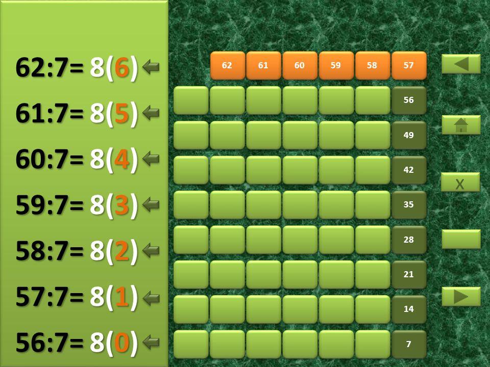 64 65 66 67 68 69 56 63 7 7 14 21 28 35 42 49 9(5) 63:7= 9(0) 64:7= 9(1) 65:7= 9(2) 66:7= 9(3) 67:7= 9(4) 68:7= x x 9(6) 69:7=