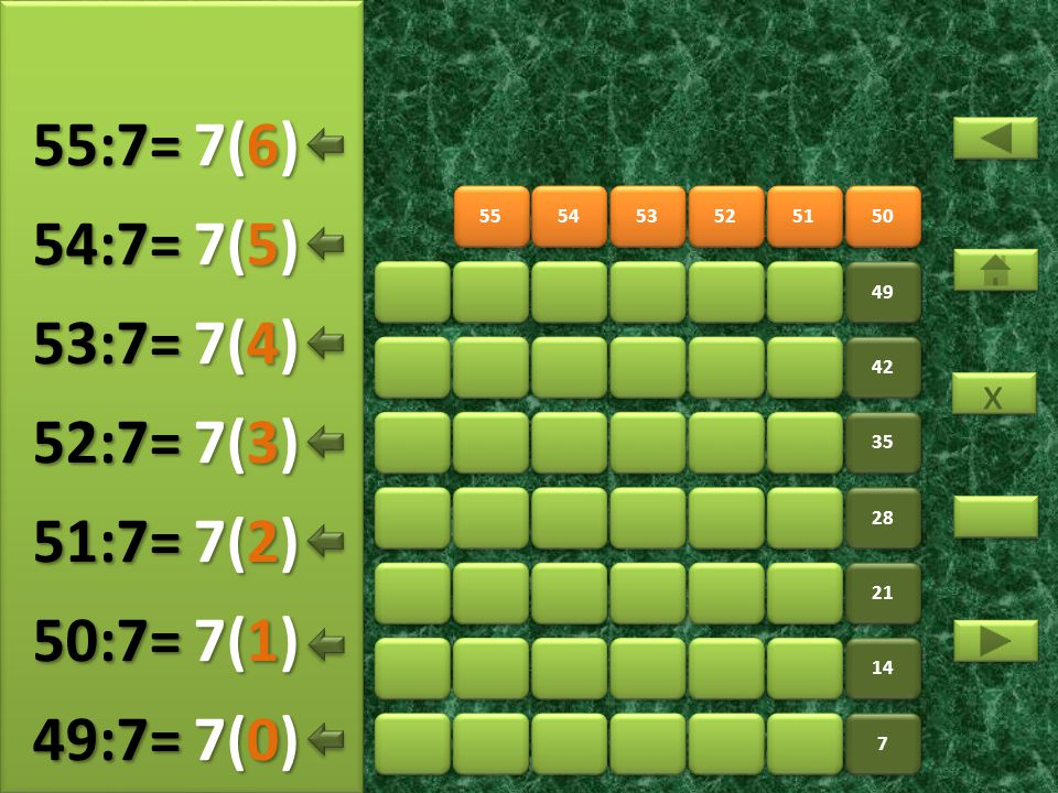 57 58 59 60 61 62 56 7 7 14 21 28 35 42 49 8(5) 56:7= 8(0) 57:7= 8(1) 58:7= 8(2) 59:7= 8(3) 60:7= 8(4) 61:7= x x 8(6) 62:7=