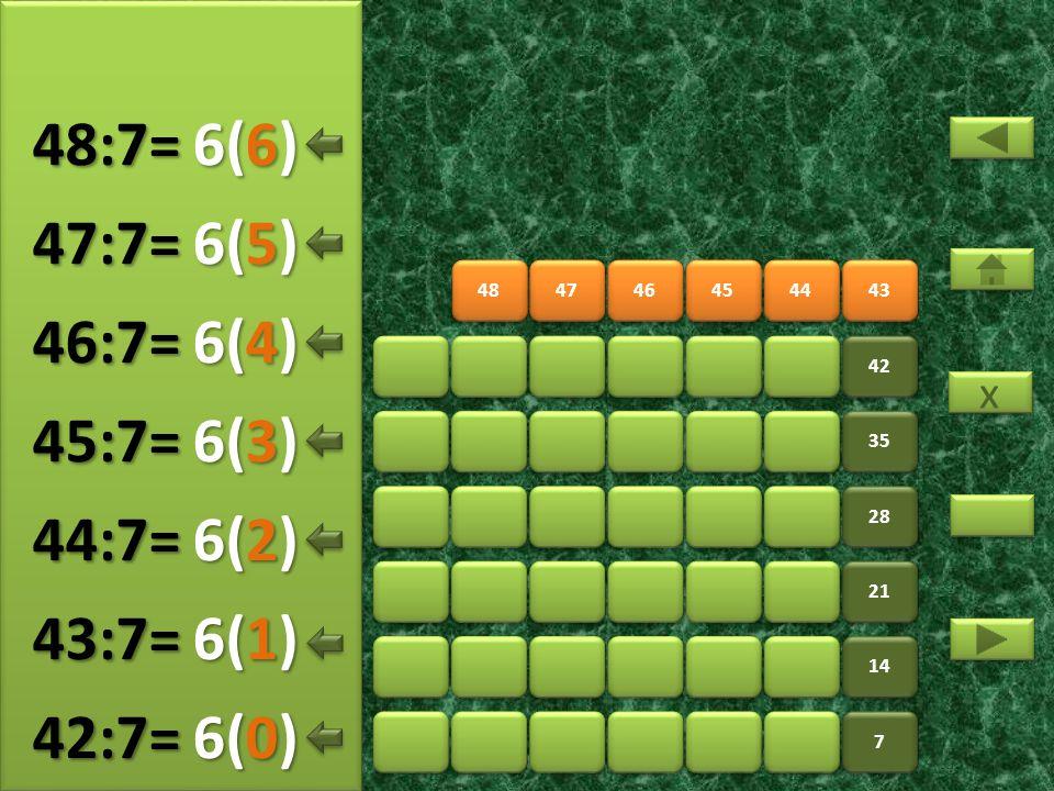 50 51 52 53 54 55 7 7 14 21 28 35 42 49 7(5) 49:7= 7(0) 50:7= 7(1) 51:7= 7(2) 52:7= 7(3) 53:7= 7(4) 54:7= x x 7(6) 55:7=