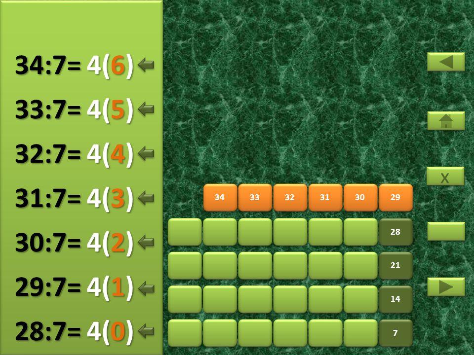 36 37 38 39 40 41 7 7 14 21 28 35 5(5) 35:7= 5(0) 36:7= 5(1) 37:7= 5(2) 38:7= 5(3) 39:7= 5(4) 40:7= x x 5(6) 41:7=