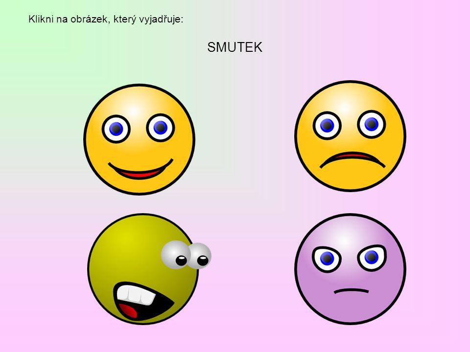 Dokresli do obličejů výrazy, které vyjadřují: