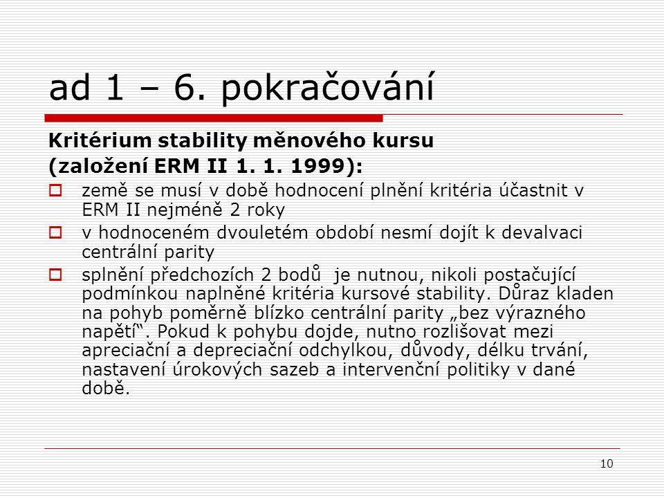 10 ad 1 – 6. pokračování Kritérium stability měnového kursu (založení ERM II 1.
