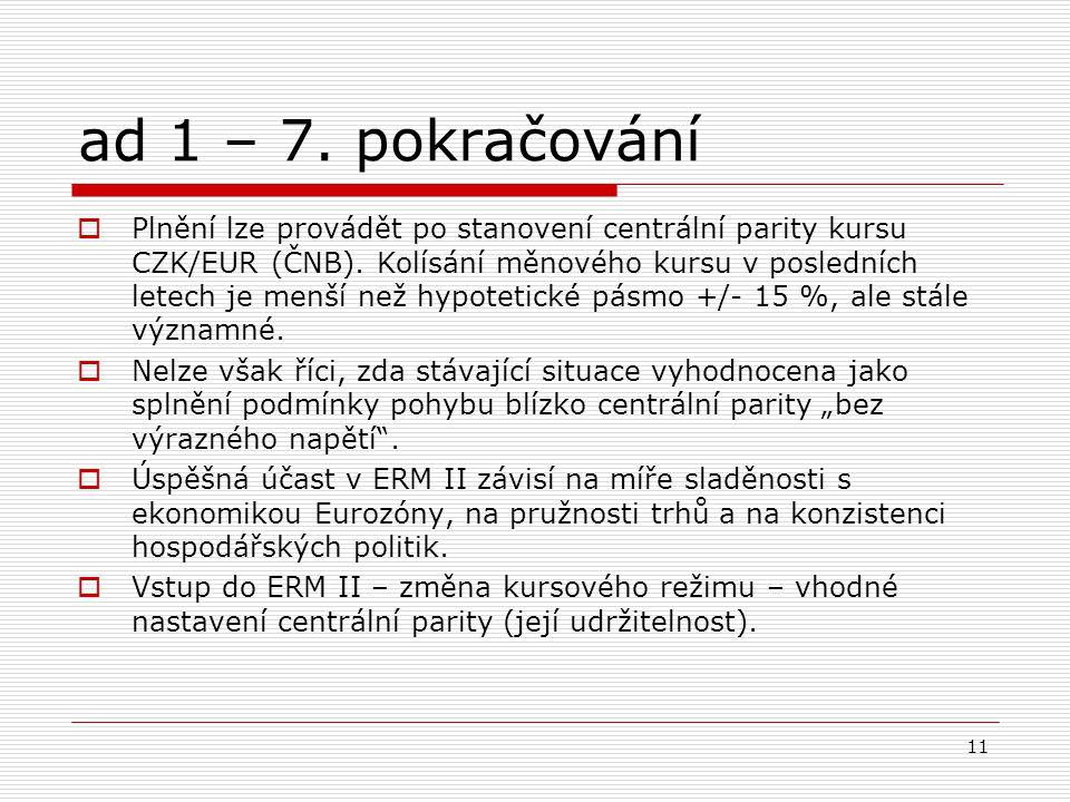 11 ad 1 – 7.pokračování  Plnění lze provádět po stanovení centrální parity kursu CZK/EUR (ČNB).