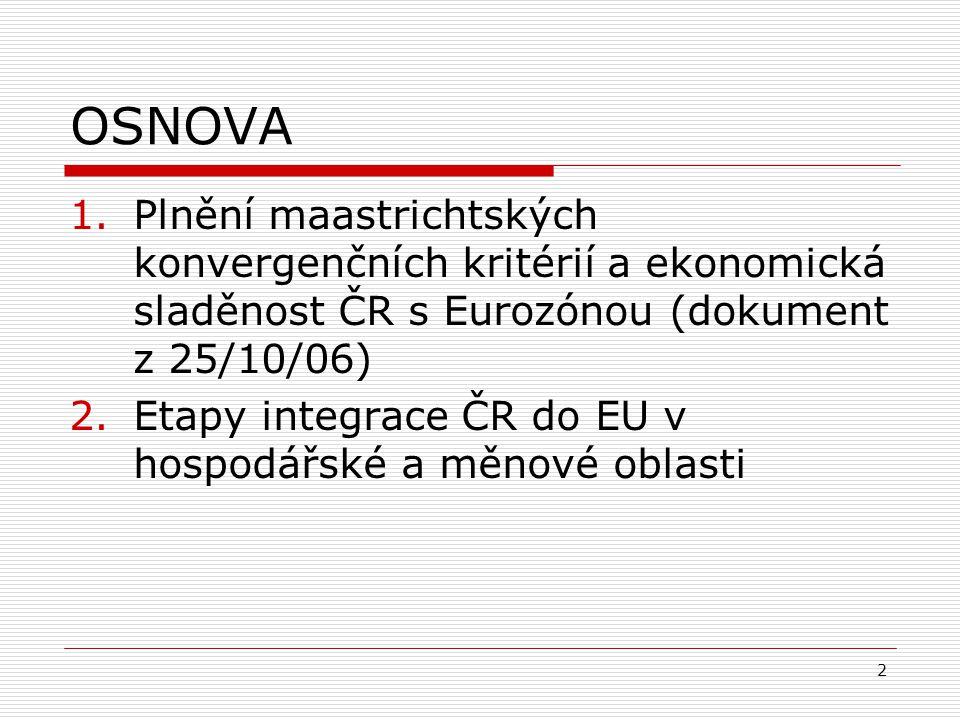 2 OSNOVA 1.Plnění maastrichtských konvergenčních kritérií a ekonomická sladěnost ČR s Eurozónou (dokument z 25/10/06) 2.Etapy integrace ČR do EU v hospodářské a měnové oblasti