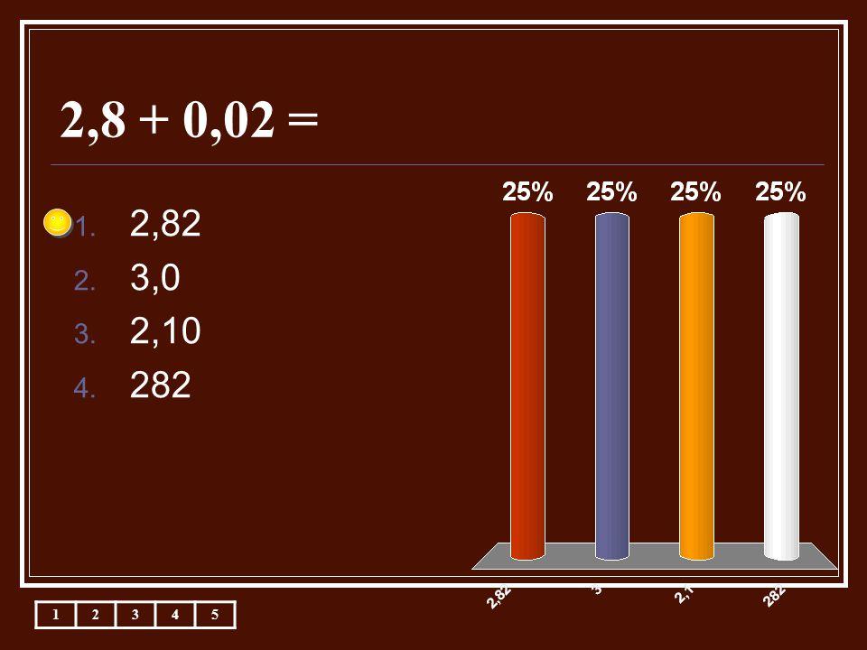 2,8 + 0,02 = 1. 2,82 2. 3,0 3. 2,10 4. 282 12345