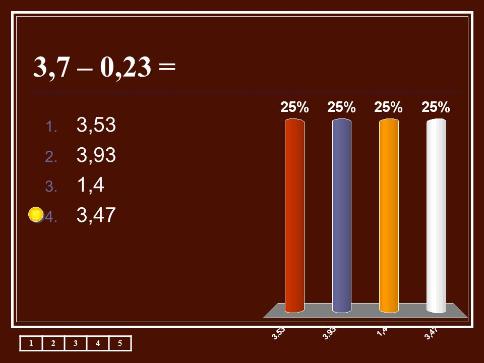 3,7 – 0,23 = 12345 1. 3,53 2. 3,93 3. 1,4 4. 3,47