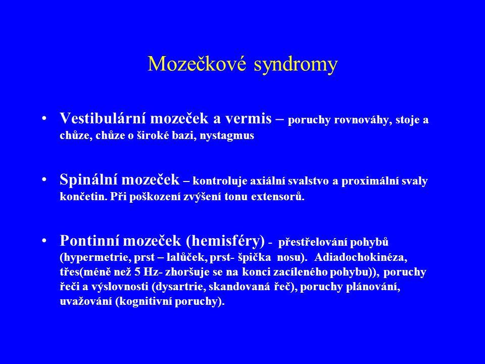 Mozečkové syndromy Vestibulární mozeček a vermis – poruchy rovnováhy, stoje a chůze, chůze o široké bazi, nystagmus Spinální mozeček – kontroluje axiá