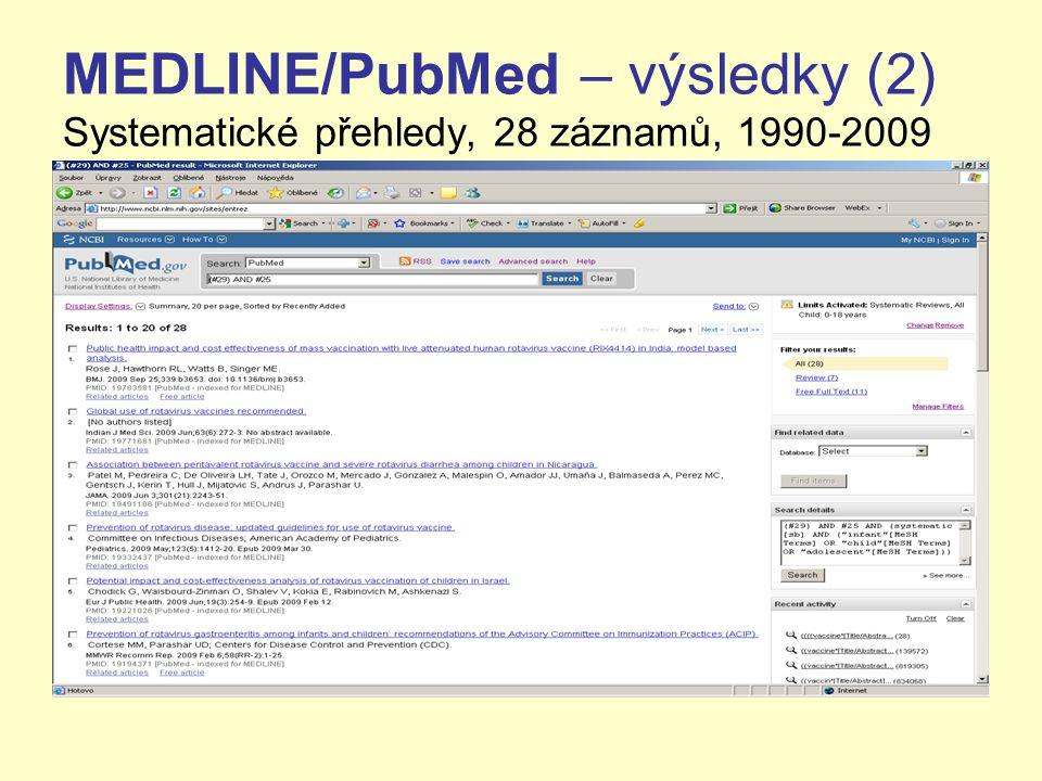 MEDLINE/PubMed – výsledky (2) Systematické přehledy, 28 záznamů, 1990-2009