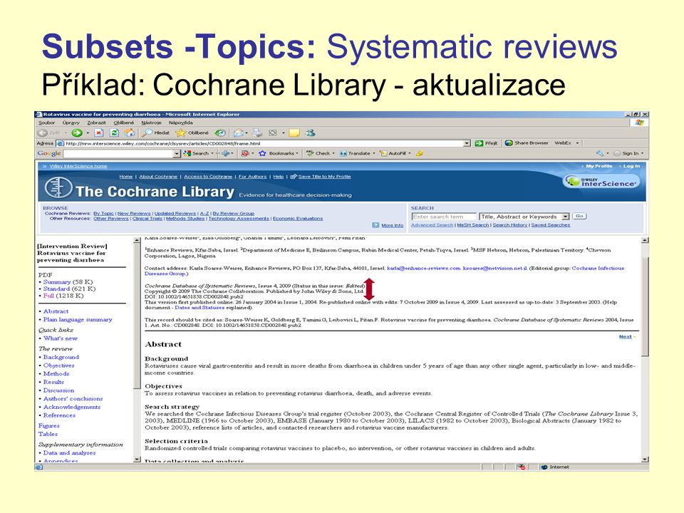 Subsets -Topics: Systematic reviews Příklad: Cochrane Library - aktualizace