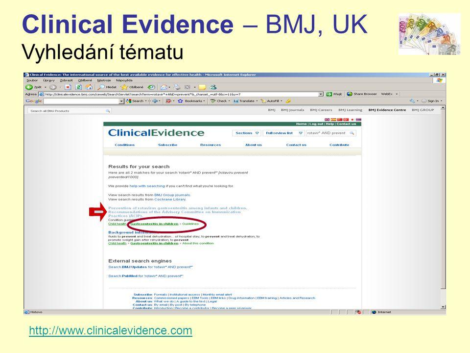 Clinical Evidence – BMJ, UK Vyhledání tématu http://www.clinicalevidence.com