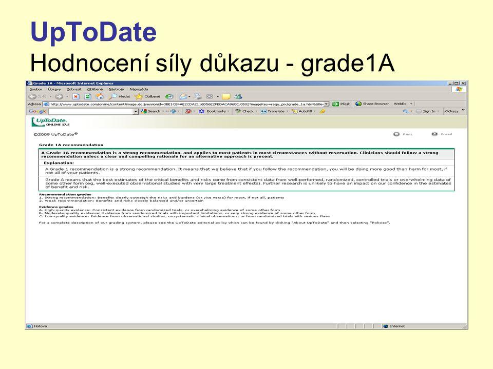 UpToDate Hodnocení síly důkazu - grade1A