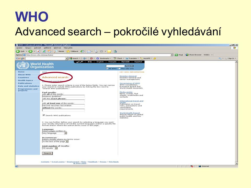 WHO Advanced search – pokročilé vyhledávání