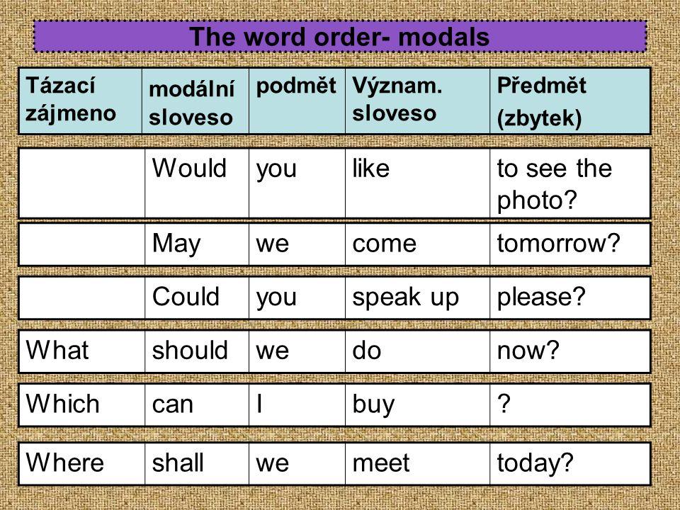 The word order- modals Tázací zájmeno modální sloveso podmětVýznam. sloveso Předmět (zbytek) Maywecometomorrow? Couldyouspeak upplease? Whatshouldwedo