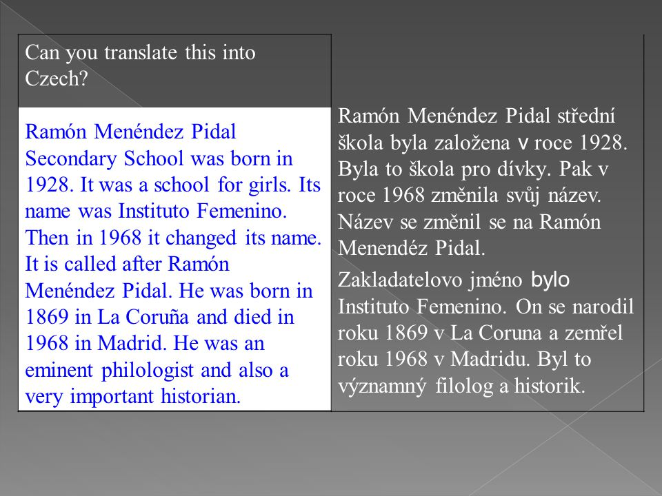 Can you translate this into Czech. Ramón Menéndez Pidal Secondary School was born in 1928.