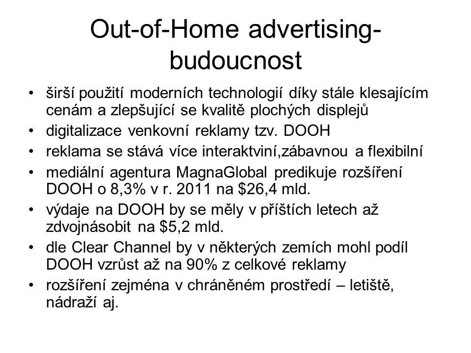 Out-of-Home advertising- budoucnost širší použití moderních technologií díky stále klesajícím cenám a zlepšující se kvalitě plochých displejů digitalizace venkovní reklamy tzv.