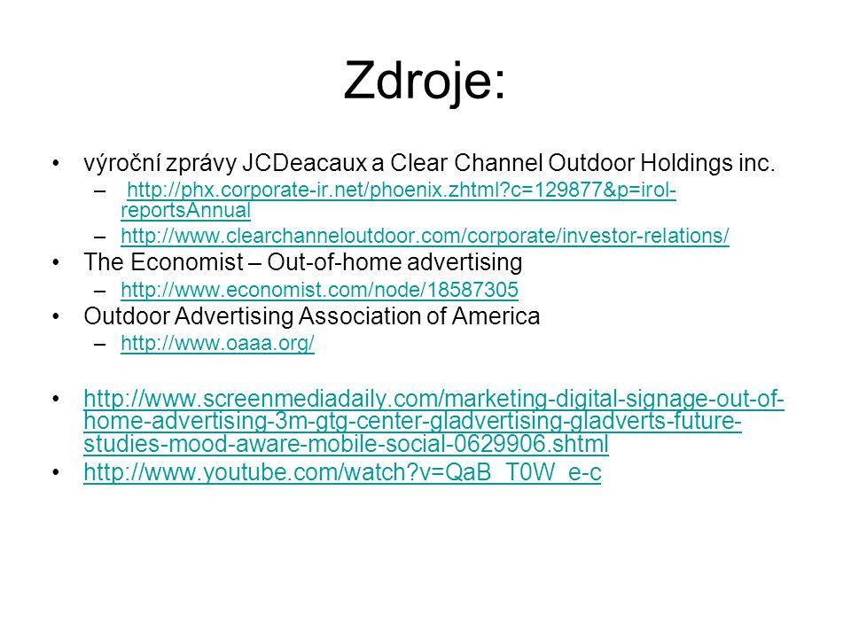 Zdroje: výroční zprávy JCDeacaux a Clear Channel Outdoor Holdings inc.